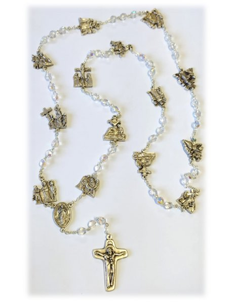 4773 - 1/2AB CRYSTAL WAY OF CROSS ROSARY 7MM