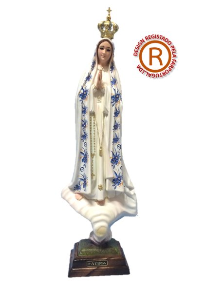 Our Lady of Fátima w/Flowered Design and Old Painting 44cm with Crystal eyes, without pigeon